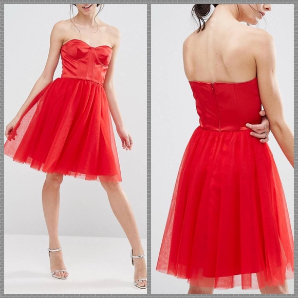 ASOS Dresses | Nwt Red Corset Tulle Skirt Prom Dress | Poshmark